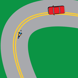 Curve, oncoming vehicle over centerline